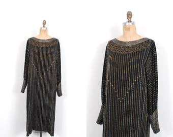 Vintage 1980s Dress / 80s Beaded Silk Party Dress / Black and Gold ( S M )