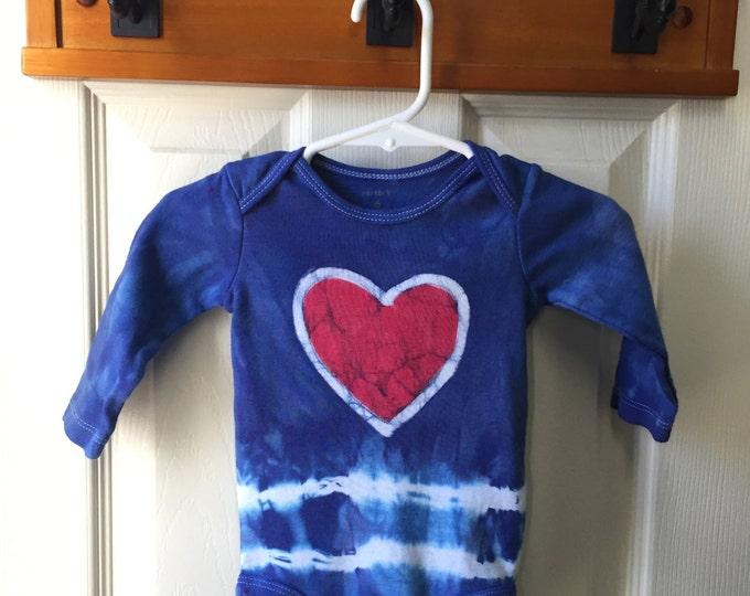 Baby Valentine's Day Bodysuit, Patriotic Baby Bodysuit, Heart Baby Bodysuit, Valentines Day Baby Shirt, Tie Dye Baby Shirt (6 months)