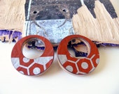 Natural maple wood hoop earrings made from upcycled skateboard with original graphic