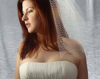 Birdcage Veil, Simple Veil, Bird Cage Veil, Short Veil, Ivory Veil, Wedding Veil, Bridal Veil, Couture Veil, Blusher Veil