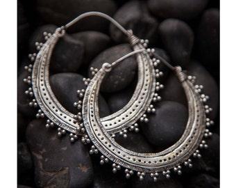 Hoop earrings, Silver hoops, Afghan Silver earrings, 925 silver earrings, Silver  Hoop earrings, Charm jewellery, Energy jewellery, Tribu