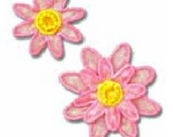 Pink Flower Patch - Flower Embroidered Iron On Patch, Botanical, Japanese Kawaii Floral Iron on Applique, Embroidery Applique, 2PCS, W347