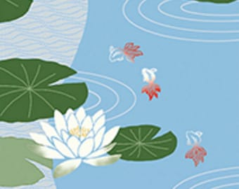 Japanese Tenugui Cotton Towel Fabric, Water Lily, Lotus Flower, Floral, Goldfish, Hand Dyed Fabric, Wall Hanging Tapestry, Scarf, h577