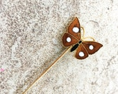 Brown Butterfly Pin, Enamel Butterfly Hatpins Butterfly Accessories, Hat Pins Vintage, Gold Butterfly Pin Vintage Butterfly Gifts, Stick Pin