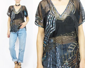Vintage Silk Sequin Blouse Sheer Silk Sequined Top Black Gold Beaded Blouse Glam 80s 90s Party Blouse Disco Evening Blouse V Neck Top E125