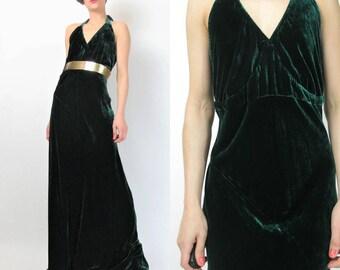 1990s Silk Velvet Dress Crushed Velvet Evening Gown Dark Forest Green Dress Chiffon Halter Neck Open Back Bias Cut Dress Formal (L) E4050