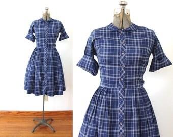 1950s Dress / 50s 60s Plaid Dress / Blue Plaid 50s Shirtwaist Dress