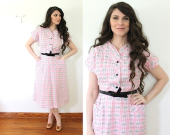 Pink 50s Plaid Dress / 1950s Plaid Princess Peggy Pink Day Dress