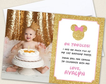 Gold Minnie Mouse Photo Thank You Cards - Professionally printed *or* DIY printable