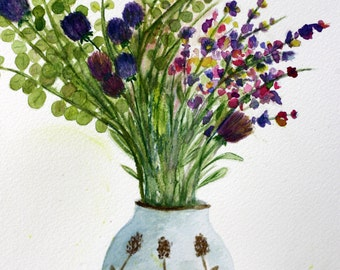 Purple flowers in vase, original watercolor, mauve, pink, yellow, eucalyptus, green and purple, large art, violets, dining room art, matted