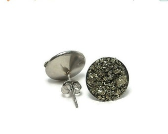 15% OFF SALE Crushed Pyrite Stone Stainless Steel Stud Earrings