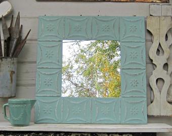 Antique Tin Ceiling Tile Mirror. 2'x2'. Turquoise Aqua Mirror. Vintage Architectural salvage. Bathroom wall mirror. Beach decor.