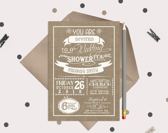 Burlap Wedding Shower Invitations · white & burlap · Rustic Bridal Shower Invitation Cards