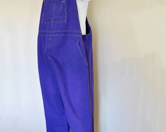 Purple XL Bib OVERALL Pants - Violet Dyed Upcycled Motherhood MATERNITY Denim Overall - Adult Womens Size Extra Large (46 W x 29 L)