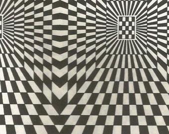 vintage 70s checkered optical illusion pattern print black white pop art design square retro home decor skater geometric picture wall 51/52