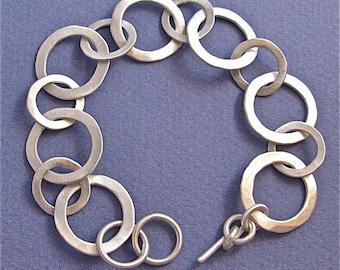 Hammered sterling silver small-medium link bracelet