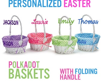 Personalized Easter Basket -Easter Baskets Folding Handle Polkadot Easter Basket Liner Blue Green Purple Pink For Boys Girls White Yellow