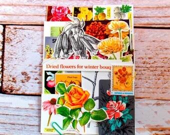 Vintage Floral Garden Paper Pack / 25+ Pieces / Planner Supplies / Vintage Ephemera / Junk Journal / Vintage Journal