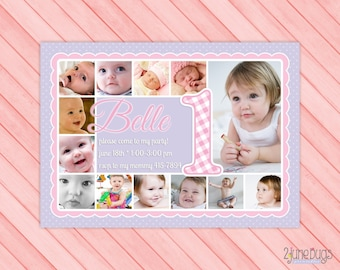 Pink and Purple 1st Birthday Invitation - Girl First Birthday Party Photo Card Invite - Year of Photos - PERSONALIZED, PRINTABLE