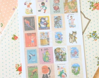 Europe Vintage Stamp Stickers REFILL 4pc set Vol 1