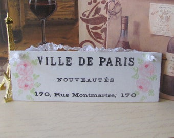 VILLE de PARIS Sign Painting, HP Pink Roses, French Country Decor, Romantic Shabby Cottage Chic Roses, Hand Painted Paris Decor