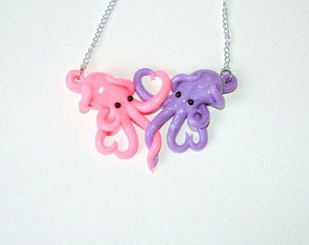 Intertwined Octopi in love Necklace,  opaque glitter pink and purple valentines day gift, anniversary, christmas, birthday,