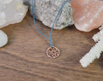 Dreamcatcher Wish Necklace - 14k Rose Gold Fill & Your Choice of Silk Color