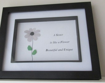 thank you sister gift flower art sister art sea glass art flower for sister gift for sister wall hanging desk art sisters