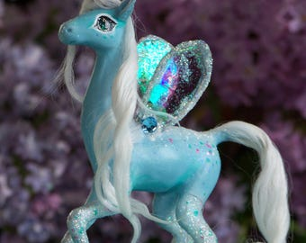 Sparkle the fairy unicorn, OOAK fantasy creature sculpture by Lady Meow