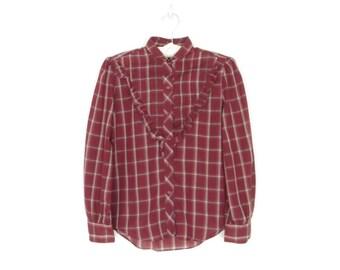Plaid Ruffle Blouse *  70s Ruffle Blouse * Vintage Button-up Shirt * Medium