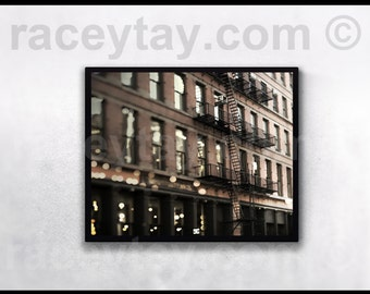 Soho Building, New York City Print, Brick, Black, Architecture, New York Photography, Dolce & Gabbana Shop