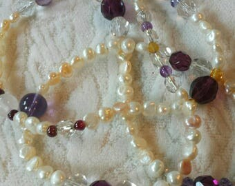 Long and elegant natural Pearl and gemstone necklace