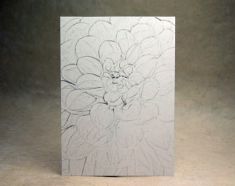 5x7 inch Print at Home Invitation Panels - 100% Recycled Grey Dahlia Flower set of 6
