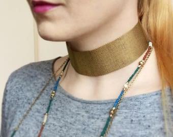 Wide Choker, Metal Choker Necklace, Gold Collar Mesh Choker Necklace