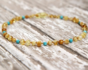Baltic Amber Teething Necklace, natural pain relief, beaded necklace, turquoise gemstone jewelry, polished amber teething, gemstone jewelry