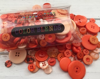 "Hand Dyed Buttons, Orange & Tangerine Shades, Assortment, Pillow Box ""Tangerine Tango"" Style CB100, Color Blends by Buttons Galore"
