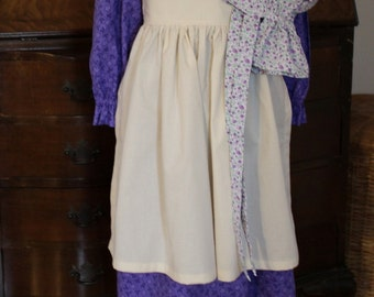 Purple Simple Pioneer Dress with Half Apron and Bonnet Size 4/5 Ready to Ship