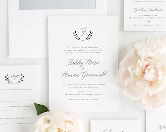 Wreath Monogram Wedding Invitations - Deposit
