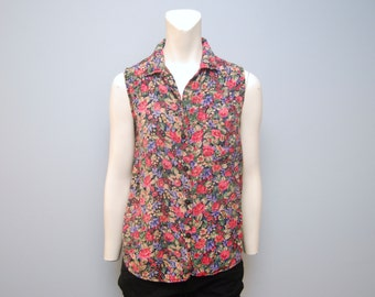 Vintage 1990's Floral Sleeveless Blouse Button Down Shirt Tank Top Pink and Purple Flowers Size Medium Bohemian 1993