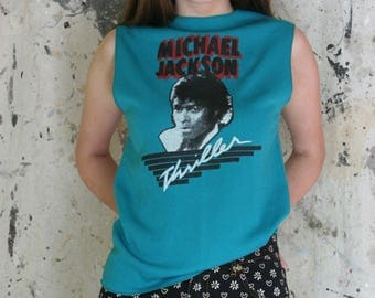 Michael Jackson Thriller Tshirt / Vintage Sleeveless Tee / Ribbed Shirt / 80's White MJ Teal Red Letters Shirt / Unisex Muscle Tee