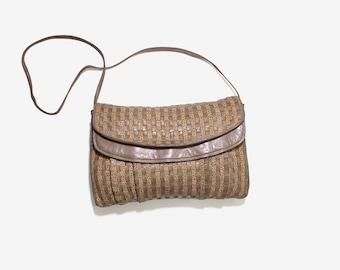 Vintage Italian Leather Bag / Italian Leather Purse / Brown Leather Bag / Woven Leather Purse / Leather Clutch Purse / Crossbody Bag