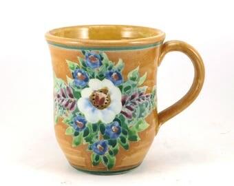 Glazed Pottery Mug - OOAK Handmade Coffee Mug with White Flowers- Gold Tea Cup