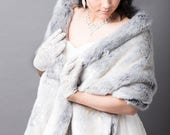 White and Slate Ombre Fox Bridal Wrap-SK1638