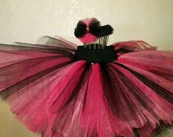 Fuchsia, black and Hot Pink Tutu with matching hair accessory,pink and black tutu,black and pink tutu,girls tutu,flower girl tutu,birthday