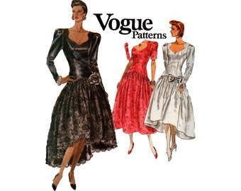 Vogue 7614 Womens High Low Hem Prom Dress 80s Vintage Sewing Pattern Size 12 14 16  Bust 34 36 38 Inches