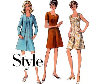 Style 2792 Square Neck Dress & Jacket 70s Vintage Sewing Pattern Size 12 Bust 34 inches