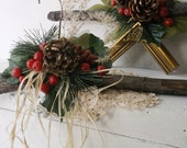 Rustic Wedding Branch Hangers. Bride and Groom. WInter Holiday Holly Berries Pinecones Woodland Photo Props.