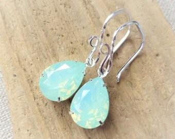 Mint Opal Swarovski Crystal Earrings, Rhinestone Pear Earrings, Sterling Silver Teardrops, Bridesmaid Gifts, Wedding Jewelry