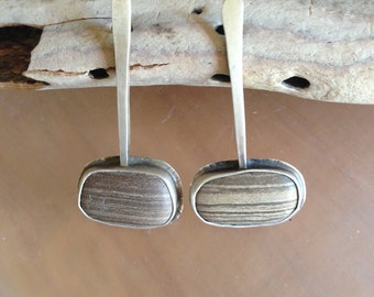 Unique Beach Stone earrings on sterling silver posts