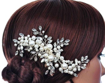 Wedding Gown Bridal Faux Pearl Flower Hair Clip Comb Crystal Rhinestone Hairpin Makeup